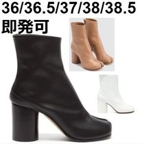 Maison Margiela Tabi Plain Leather Block Heels Ankle & Booties Boots