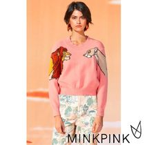 MINKPINK Crew Neck Casual Style Rib Long Sleeves