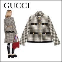 GUCCI Zigzag Wool Blended Fabrics Bi-color Elegant Style Jackets
