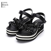 Jinny Kim Open Toe Platform Leather Sport Sandals Flat Sandals