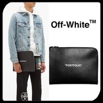 Off-White Unisex Street Style A4 Plain Leather Clutches