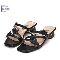 Jinny Kim Open Toe Leather Elegant Style Chunky Heels Sandals
