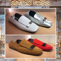 Sergio Rossi Moccasin Suede Blended Fabrics Bi-color Plain