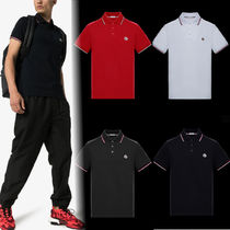 MONCLER Pullovers Gingham Cotton Short Sleeves Polos