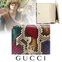 GUCCI GG Marmont Blended Fabrics Leather Folding Wallets