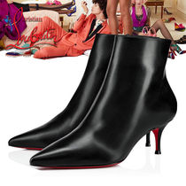 Christian Louboutin Plain Leather Pin Heels Elegant Style Ankle & Booties Boots
