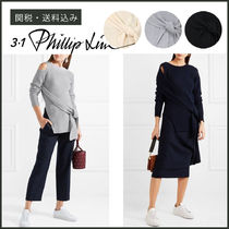 3.1 Phillip Lim Wool Long Sleeves Plain Medium High-Neck Elegant Style