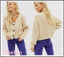ASOS Cable Knit Casual Style Long Sleeves Plain Cotton Knitwear