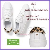 kate spade new york Leopard Patterns Casual Style Plain Leather Low-Top Sneakers