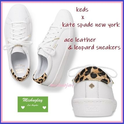 Leopard Patterns Casual Style Plain Leather Low-Top Sneakers