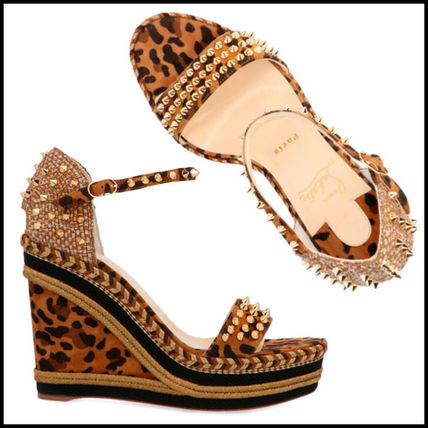 competitive price fe0f0 b5885 Christian Louboutin Madmonica Leopard Patterns Open Toe Studded Leather  (3190721C194)