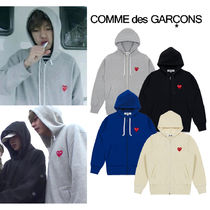 COMME des GARCONS Heart Unisex Street Style Long Sleeves Plain Cotton Hoodies