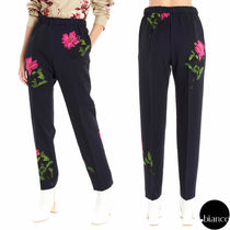 Dries Van Noten Printed Pants Flower Patterns Wool Long Elegant Style Pants