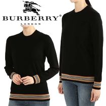 Burberry Crew Neck Stripes Casual Style Wool Long Sleeves Plain