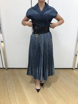 Christian Dior Denim Pleated Skirts Plain Skirts
