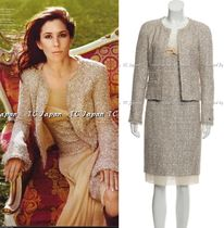 CHANEL TIMELESS CLASSICS CHANEL 05S Metallic Tweed Jacket Dress Suit Set F34 F36