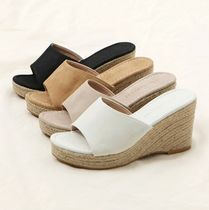 Open Toe Plain Office Style Platform & Wedge Sandals