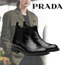 PRADA Plain Leather Chelsea Boots Chelsea Boots