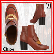 Chloe Plain Leather Block Heels High Heel Boots