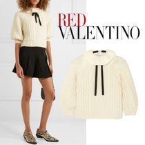 RED VALENTINO Cable Knit Wool Long Sleeves Elegant Style Knitwear