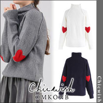 Chicwish Heart Casual Style Long Sleeves Plain Turtlenecks