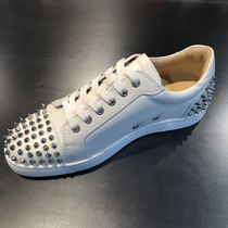 Christian Louboutin Studded Plain Leather Sneakers