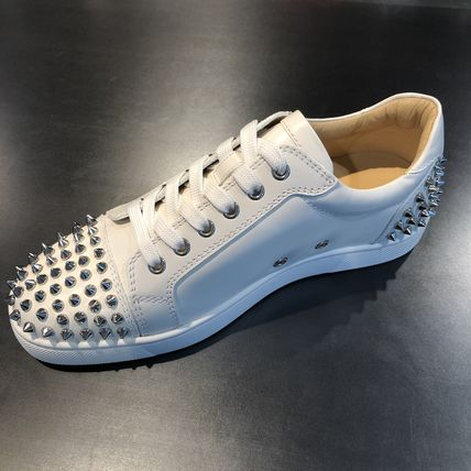 Studded Plain Leather Sneakers