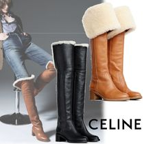 CELINE Blended Fabrics Leather Chunky Heels Over-the-Knee Boots