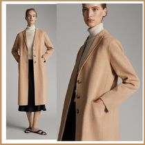 Massimo Dutti Wool Plain Long Office Style Chester Coats