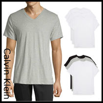 Calvin Klein Street Style V-Neck Plain Cotton Short Sleeves