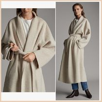 Massimo Dutti Wool Plain Long Office Style Wrap Coats