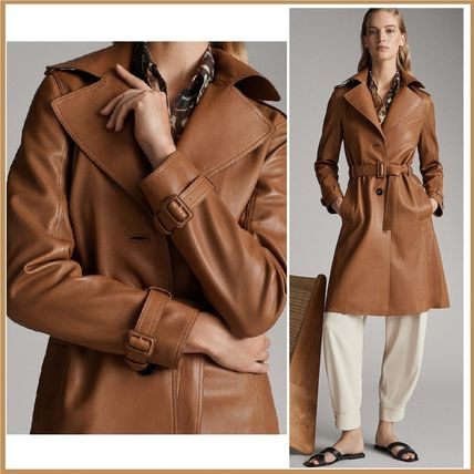 Plain Leather Medium Office Style Trench Coats