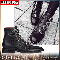 GIVENCHY Casual Style Studded Plain Leather Block Heels