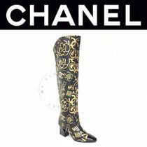 CHANEL ICON Flower Patterns Square Toe Blended Fabrics Street Style