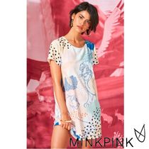 MINKPINK Crew Neck Other Animal Patterns Long Short Sleeves T-Shirts