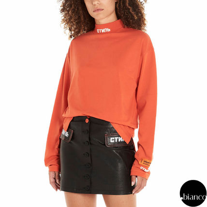 Unisex Street Style Long Sleeves Cotton Long High-Neck