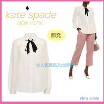 kate spade new york Dots Silk Long Sleeves Party Style Shirts & Blouses