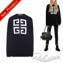 GIVENCHY Crew Neck Casual Style Long Sleeves Cotton Medium Sweaters