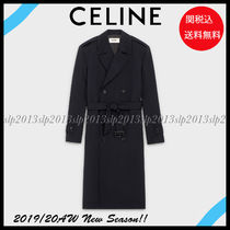 CELINE Wool Blended Fabrics Plain Long Trench Coats