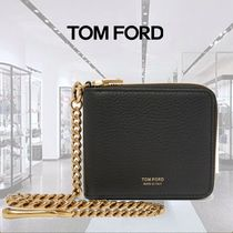 TOM FORD Chain Plain Leather Folding Wallets