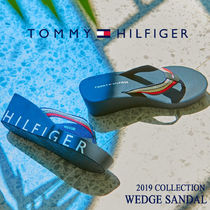 Tommy Hilfiger Open Toe Platform Casual Style Blended Fabrics Street Style