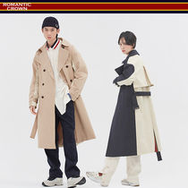 ROMANTIC CROWN Unisex Street Style Trench Coats