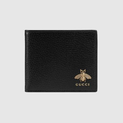 GUCCI Folding Wallet Logo Plain Other Animal Patterns Leather