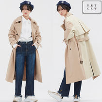 ROMANTIC CROWN Unisex Street Style Collaboration Plain Long Trench Coats