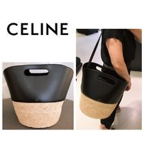 CELINE Calfskin Blended Fabrics A4 2WAY Straw Bags