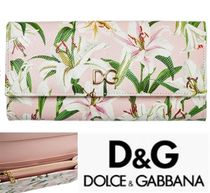 Dolce & Gabbana Flower Patterns Leather Long Wallets