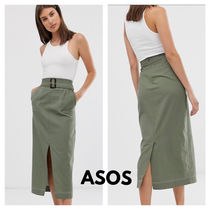 ASOS Pencil Skirts Casual Style Blended Fabrics Plain Cotton