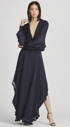 Pleated Skirts Plain Long Elegant Style Asymmetry