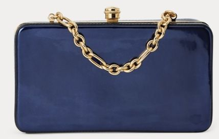Calfskin 3WAY Chain Plain Elegant Style Crossbody Clutches
