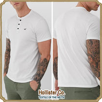 Hollister Co. Henry Neck Street Style Cotton Short Sleeves Henley T-Shirts
